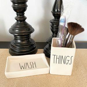 🆕Rae Dunn WASH Soap Dish & THINGS Set